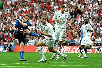 Photo: Tom Dulat.<br /> England v Estonia. UEFA European Championships Qualifying. 13/10/2007.<br /> Aleksandr Dimitrijev of Estonia misses shot on tatget.