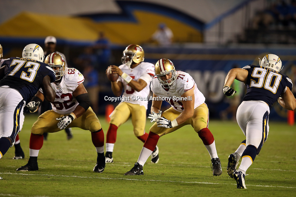 San Francisco 49ers offensive tackle Carter Bykowski (71) pass blocks during the NFL week 4 preseason football game against the San Diego Chargers on Thursday, Aug. 29, 2013 in San Diego. The 49ers won the game 41-6. ©Paul Anthony Spinelli