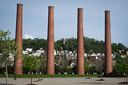 The open hearth stacks are all that remain of the US Steel's Homestead Works that was located in Homestead, near Pittsburgh, Pa.<br /> <br /> The Homestead Steel Works was a large steel works located on the Monongahela River in Homestead, Pa.<br /> <br /> The plant closed in 1986 because of a severe downturn in the domestic steel industry, and the town still has not totally recovered.<br /> <br /> Today the land is home to The Waterfront shopping center and Sandcastle Waterpark.