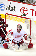 Apr 23, 2010; Glendale, AZ, USA; Detroit Red Wings goalie Jimmy Howard (35) looks up as the puck flies through the air during the third period of game five in the first round of the 2010 Stanley Cup Playoffs at Jobing.com Arena.  The Red Wings defeated the Coyotes 4-1.  Mandatory Credit: Jennifer Stewart-US PRESSWIRE
