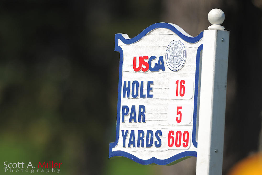 Tee marker for 16th hole during the second round of the 112th U.S. Open at The Olympic Club on June 15, 2012 in San Fransisco. ..©2012 Scott A. Miller