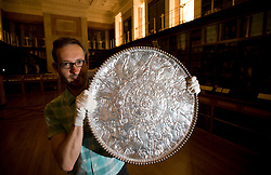 © licensed to London News Pictures.  28/06/2011. London, UK. The 'Great Dish' from the Mildenhall treasure, a peice of  late-Roman silver tableware from the Roman Empire, on display at the British Museum today (28/06/2011).  Part of the launch of the British Museum annual review. Highlights include the newly acquired 3,000 year old Nimrud Ivories, the largest acquisition by the museum since the Second World War, excavated from Nimrud in modern day Iraq in the mid-20th century. See special instructions. Photo credit should read: Ben Cawthra/LNP