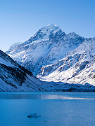 Aoraki looms over Hooker Lake in the winter; Aoraki/Mt. Cook National Park, New Zealand