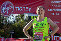 Tony Audenshaw in the celebrity area ahead of the Green Start at The Virgin Money London Marathon 2014 on Sundy 13 April 2014<br />
