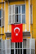 Turkey, Istanbul. A Turkish flag on display.