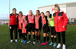 Millie Farrow and Corinne Yorston of Bristol City Women poses with winners of the Sister Club tournament - Mandatory by-line: Robbie Stephenson/JMP - 10/09/2016 - FOOTBALL - Stoke Gifford Stadium - Bristol, England - Bristol City Women v Watford Ladies - FA Women's Super League 2