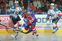 KELOWNA, CANADA, FEBRUARY 15: Mitchell Moroz #29 of the Edmonton OIl Kings skates with the puck at the Kelowna Rockets on February 15, 2012 at Prospera Place in Kelowna, British Columbia, Canada (Photo by Marissa Baecker/Shoot the Breeze) *** Local Caption ***