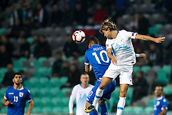Pieros Sotiriou of Cyprus and Rene Krhin of Slovenia during football match between National Teams of Slovenia and Cyprus in Final Tournament of UEFA Nations League 2019, on October 16, 2018 in SRC Stozice, Ljubljana, Slovenia. Photo by  Morgan Kristan / Sportida