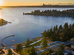 United States, Washington, Bellevue, aerial view of Meydenbauer Park, Meydenbauer Bay, and Seattle skyline