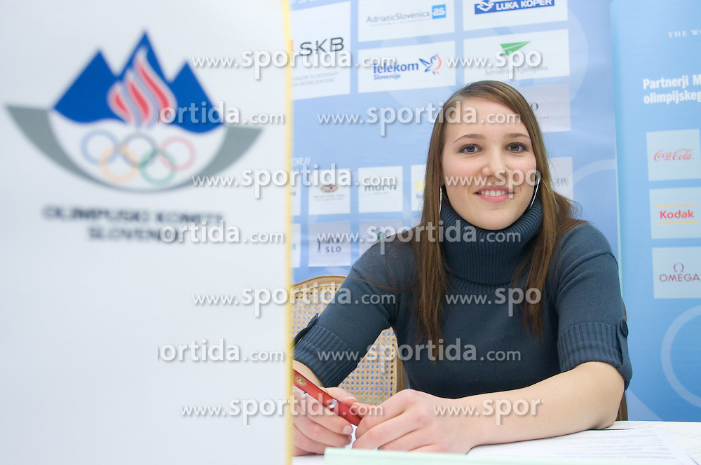 Mateja Robnik at press conference when she has signed a contract with IOC and OKS for 16 months long sponsorship (1500 $ monthly) till Olympic games in Vancouver 2010, on December 22, 2008, Grand hotel Union, Ljubljana, Slovenia. (Photo by Vid Ponikvar / SportIda).