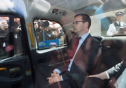 Image ©Licensed to i-Images Picture Agency. 25/06/2014. London, United Kingdom. Andy Coulson in court again as jury consider more charges. Andy Coulson leaves court inside a taxi this afternoon as jury has been discharged  after yesterday was found guilty of a charge of conspiracy to intercept voicemails. Old Bailey. Picture by Daniel Leal-Olivas / i-Images
