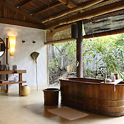 An open private bathroom at the Evason Hideaway in Nha Trang, Vietnam.