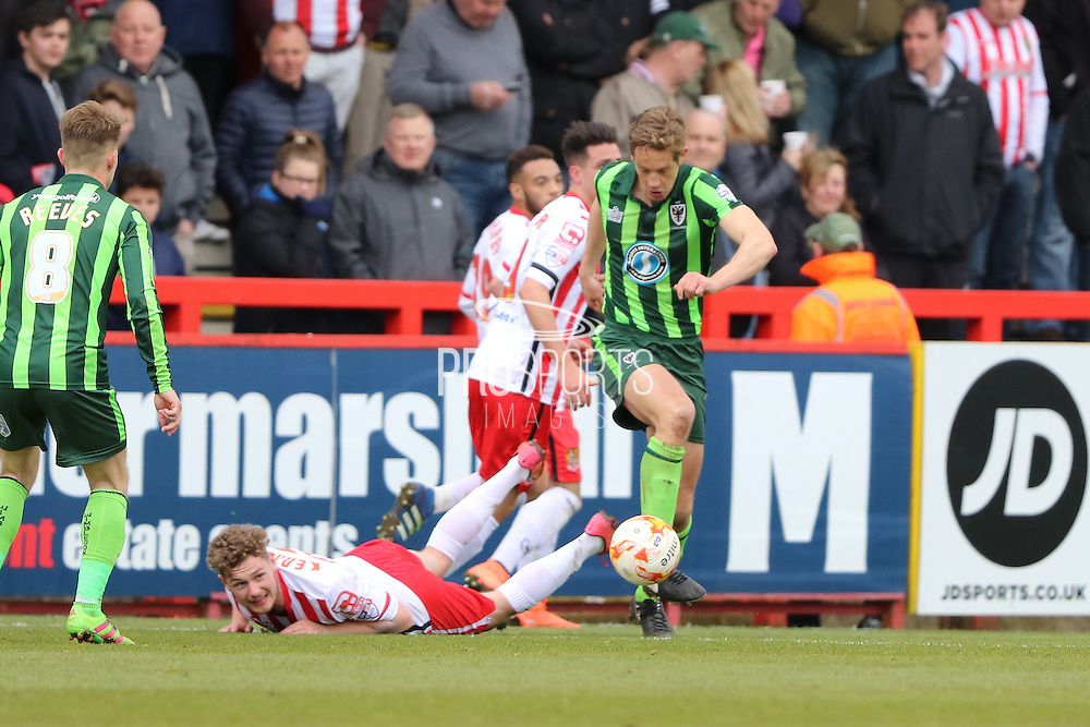 Paul Robinson defender for AFC Wimbledon (6) breaks away during the Sky Bet League 2 match between Stevenage and AFC Wimbledon at the Lamex Stadium, Stevenage, England on 30 April 2016. Photo by Stuart Butcher.