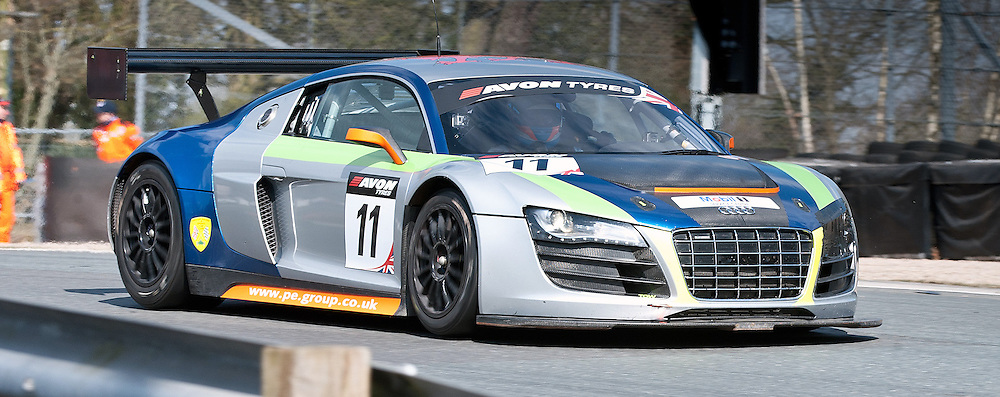 PE Group Blendini Moto, Dominic Evans & Tom Roche, Audi R8 LMS, GT3 - during qualifying and practice at the first round of the Avon Tyres British GT Championship held at Oulton Park, Cheshire, UK.  30th March 2013 WAYNE NEAL | STOCKPIX.EU