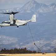 GUNMA, JAPAN - MARCH 10 : Members of Japan's Self Defence Forces is seen rappelling from a MV-22 Osprey during the US-Japan joint training drill in JGSDF Camp Soumagahara , Gunma prefecture, Japan on March 10, 2017. (Photo: Richard Atrero de Guzman/ANADOLU Agency)