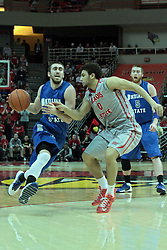 26 February 2014:  Jake Odum & Kaza Keane during an NCAA Missouri Valley Conference (MVC) mens basketball game between the Indiana State Sycamores and the Illinois State Redbirds  in Redbird Arena, Normal IL.