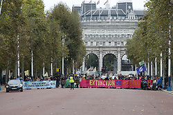 © Licensed to London News Pictures. 07/10/2019. London, UK. Extinction Rebellion protestors block The Mall in central London . Activists are converging on Westminster blockading roads in the area for at least two weeks calling on government departments to 'Tell the Truth' about what they are doing to tackle the Emergency. Photo credit: Peter Macdiarmid/LNP