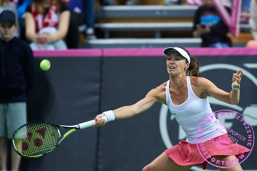 Martina Hingis from Switzerland competes during the Fed Cup / World Group Play Off tennis match between Poland and Switzerland on April 18, 2015 in Zielona Gora, Poland<br /> Poland, Zielona Gora, April 18, 2015<br /> <br /> Picture also available in RAW (NEF) or TIFF format on special request.<br /> <br /> For editorial use only. Any commercial or promotional use requires permission.<br /> <br /> Adam Nurkiewicz declares that he has no rights to the image of people at the photographs of his authorship.<br /> <br /> Mandatory credit:<br /> Photo by &copy; Adam Nurkiewicz / Mediasport