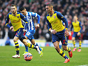Arsenal's Kieran Gibbs on the ball during the The FA Cup match between Brighton and Hove Albion and Arsenal at the American Express Community Stadium, Brighton and Hove, England on 25 January 2015. Photo by Phil Duncan.