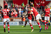 Ben Wiles of Rotherham United celebrating his team's first goal during the EFL Sky Bet League 1 match between Rotherham United and Bolton Wanderers at the AESSEAL New York Stadium, Rotherham, England on 14 September 2019.