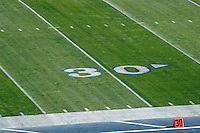 2 December 2006: 30 yard line field marker during Pac-10 college football upset UCLA beat the Trojans 13-9 during the final home game of the season for the UCLA Bruins vs the University of Southern California USC  Trojans at the Rose Bowl in Pasadena, CA.