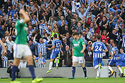 Brighton and Hove Albion forward Tomer Hemed (10) celebrates in front of the fans after his goal  during the Premier League match between Brighton and Hove Albion and West Bromwich Albion at the American Express Community Stadium, Brighton and Hove, England on 9 September 2017. Photo by Phil Duncan.