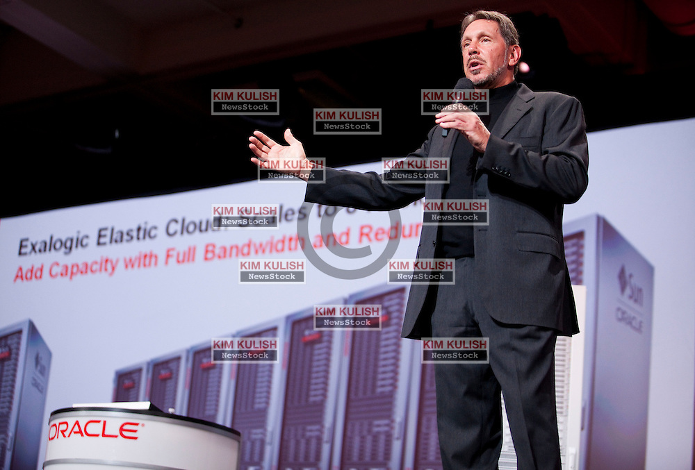 Larry Ellison, chief executive officer of Oracle Corp., gives the keynote address at the annual Oracle OpenWorld conference in San Francisco, California, U.S., on Sunday, Sept. 19, 2010.