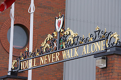 LIVERPOOL, ENGLAND - Saturday, January 26, 2008: Part of the famous 'Shankly Gates' outside Anfield stadium, home of Liverpool Football Club. The iron gates are a tribute to former manager Bill Shankly and bear the words 'You'll Never Walk Alone' which is sung as an anthem by the club's supporters. (Photo by David Rawcliffe/Propaganda)