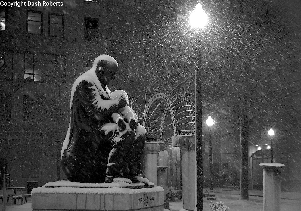 Black and white image of snow falling in Krutch Park in downtown Knoxville, Tennessee on Feb. 12, 2014.