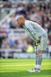 NEWCASTLE-UPON-TYNE, ENGLAND - Sunday, April 1, 2012: Liverpool's goalkeeper Jose Reina in action against Newcastle United during the Premiership match at St James' Park. (Pic by David Rawcliffe/Propaganda)
