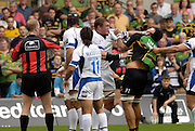 Northampton, GREAT BRITAIN,left baths  Peter SHORT clashes with Saints Pual TUPAi during the  Northampton Saints vs Bath Rugby,  Guinness Premiership Rugby match, at  Franklin's Gardens, Northampton, ENGLAND on 16/09/2006 [Photo, Peter Spurrier/Intersport-images].