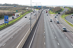 ©Licensed to London News Pictures 17/03/2020<br /> Dartford, UK. A very empty M25 in Dartford, Kent. Normally one of the busiest roads in the country but this morning due to the impact of Coronavirus it is one of the quietest. Photo credit: Grant Falvey/LNP