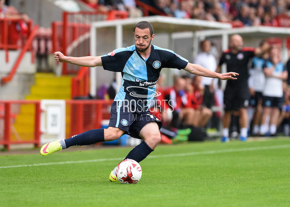 Wycombe's Michael Harriman puts a cross into the box during the Sky Bet League 2 match between Crawley Town and Wycombe Wanderers at the Checkatrade.com Stadium, Crawley, England on 29 August 2015. Photo by David Charbit.