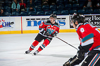 KELOWNA, CANADA - DECEMBER 3: Konrad Belcourt #5 of the Kelowna Rockets warms up against the Brandon Wheat Kings on December 3, 2016 at Prospera Place in Kelowna, British Columbia, Canada.  (Photo by Marissa Baecker/Shoot the Breeze)  *** Local Caption ***
