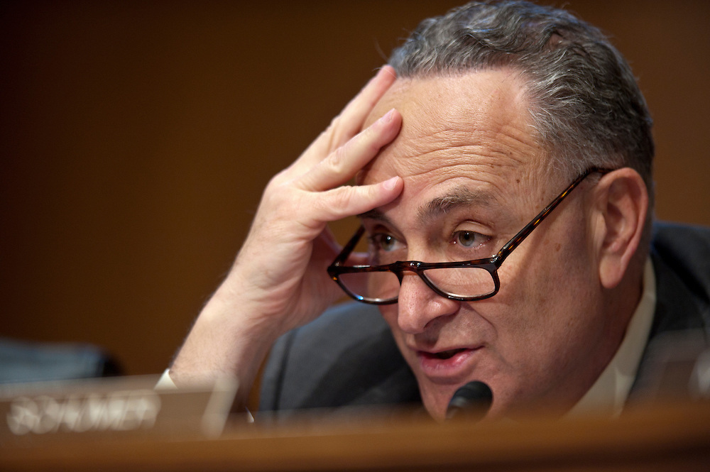 """Senator CHUCK SHUMER (D-NY) listens to testimony during a Senate Banking, Housing and Urban Affairs committee hearing on """"The Administration's Report to Congress: Reforming America's Housing Finance Market."""""""
