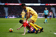 Atletico Madrid's Spanish forward Vitolo is tackled during the Spanish championship Liga football match between Club Atletico de Madrid and Girona FC on January 20, 2018 at the Wanda Metropolitano stadium in Madrid, Spain - Photo Benjamin Cremel / ProSportsImages / DPPI
