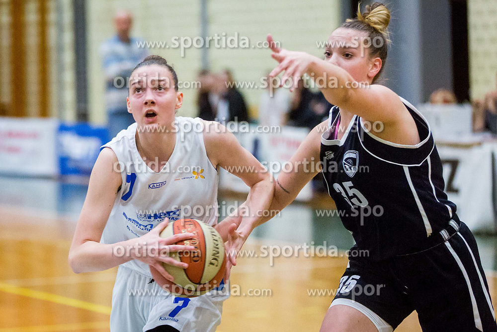Marusa Senicar of ZKK Triglav Kranj and Tina Cvijanovic of ZKK Maribor during basketball match between ZKK Triglav Kranj and ZKD Maribor in Round #1 of 1. Slovenian Woman basketball league, on February 20, 2018 in ŠD Planina, Kranj, Slovenia. Photo by Ziga Zupan / Sportida