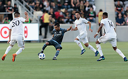 May 13, 2018 - Los Angeles, CA, USA - Los Angeles, CA - Sunday May 13, 2018: Los Angeles FC and New York City FC played to a 2-2 draw in a Major League Soccer (MLS) regular season game at Banc of California Stadium. (Credit Image: © Michael Janosz/ISIPhotos via ZUMA Wire)