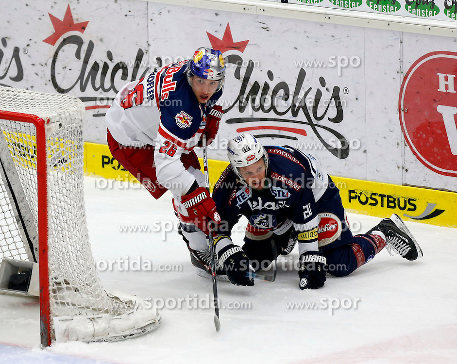 15.03. 2016, Stadthalle, Villach, AUT, EBEL, EC VSV vs EC Red Bull Salzburg, halbfinale, 2. Spiel, im Bild Peter Hochkofler (EC RBS) und Nico Brunner (VSV) // during the Erste Bank Icehockey League 2nd semifinal match between EC VSV vs EC Red Bull Salzburg at the City Hall in Villach, Austria on 2016/03/15, EXPA Pictures © 2016, PhotoCredit: EXPA/ Oskar Hoeher