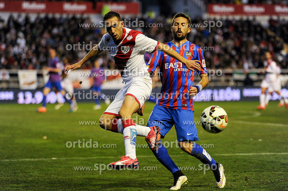 28.02.2015, Campo de Futbol, Madrid, ESP, Primera Division, Rayo Vallecano vs Levante UD, 25. Runde, im Bild Rayo Vallecano&acute;s Jose Ignacio Garcia and Levante UD&acute;s Jose Luis Morales Nogales // during the Spanish Primera Division 25th round match between Rayo Vallecano and Levante UD at the Campo de Futbol in Madrid, Spain on 2015/02/28. EXPA Pictures &copy; 2015, PhotoCredit: EXPA/ Alterphotos/ Luis Fernandez<br /> <br /> *****ATTENTION - OUT of ESP, SUI*****