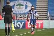 Sam Morsy (Wigan Athletic) shouts at the assistant referee when he believes the decision has been given in the wrong direction during the EFL Sky Bet Championship match between Wigan Athletic and Aston Villa at the DW Stadium, Wigan, England on 18 March 2017. Photo by Mark P Doherty.