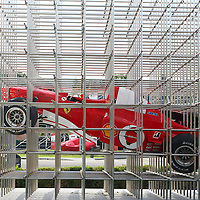 Ferrari F1 in a sculpture in the front the museum at the Museo Ferrari Maranello, Italy, 2014