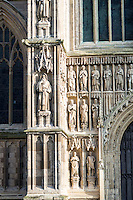 Detail of the late 14th, early 15th century west front of Beverley Minster. Statues, principally late 19th century, early 20th century.
