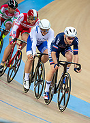 Mens Omnium IV. Australias Cameron Meyers takes gold with New Zealands Campbell Stewart taking Silver and France's Benjamin Thomas (pictured R))  takes silver.UCI Track Cycling World Cup Hong Kong 2019, Qualifiers Leg VI at the Hong Kong Velodrome in Tseung Kwan O ,Kowloon