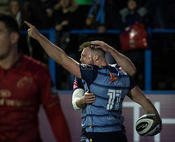 Cardiff Blues' Owen Lane celebrates scoring his sides third try<br /> <br /> Photographer Simon King/Replay Images<br /> <br /> Guinness PRO14 Round 15 - Cardiff Blues v Munster - Saturday 17th February 2018 - Cardiff Arms Park - Cardiff<br /> <br /> World Copyright © Replay Images . All rights reserved. info@replayimages.co.uk - http://replayimages.co.uk