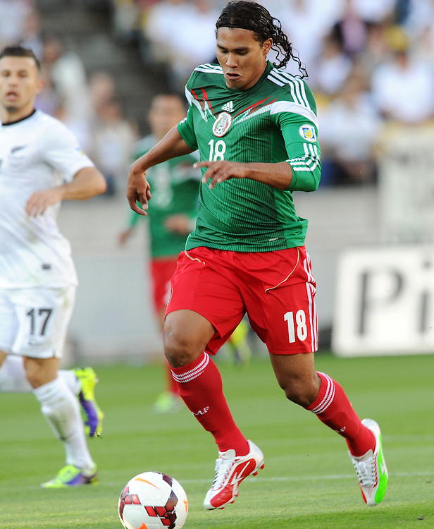 Mexico's Carlos Pena against  New Zealand in the World Cup Football qualifier, Westpac Stadium, Wellington, New Zealand, Wednesday, November 20, 2013.Credit:SNPA / Ross Setford