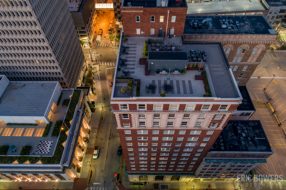 Downtown Kansas City, Missouri, aerial view above 10th Street and Baltimore Avenue.