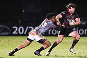 Berton Klaasen tackles Hamish Watson during the Guinness Pro 14 2017_18 match between Edinburgh Rugby and Southern Kings at Myreside Stadium, Edinburgh, Scotland on 5 January 2018. Photo by Kevin Murray.