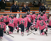 Pittsford Assistant Coach Mike Pasley speaks to the team between periods during a game against Fairport at RIT on Saturday, January 24, 2015.