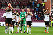 Aberdeen thank fans after the Ladbrokes Scottish Premiership match between Heart of Midlothian and Aberdeen at Tynecastle Stadium, Gorgie, Scotland on 20 September 2015. Photo by Craig McAllister.